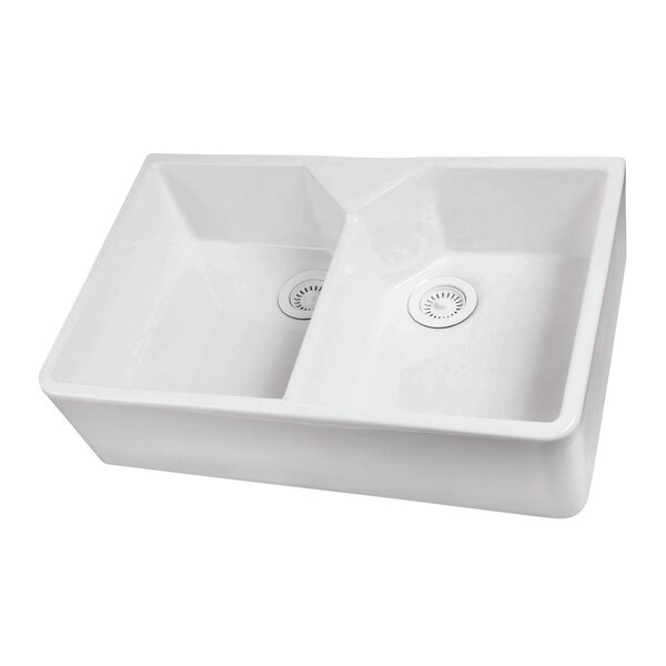 Jolie Farmer 32 x 20 Double Basin Farmhouse/Apron Kitchen Sink by Barclay
