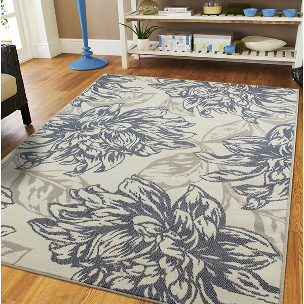 Whetzel Luxury Leaf Pattern Ivory/Gray Indoor/Outdoor Area Rug by Ophelia & Co.
