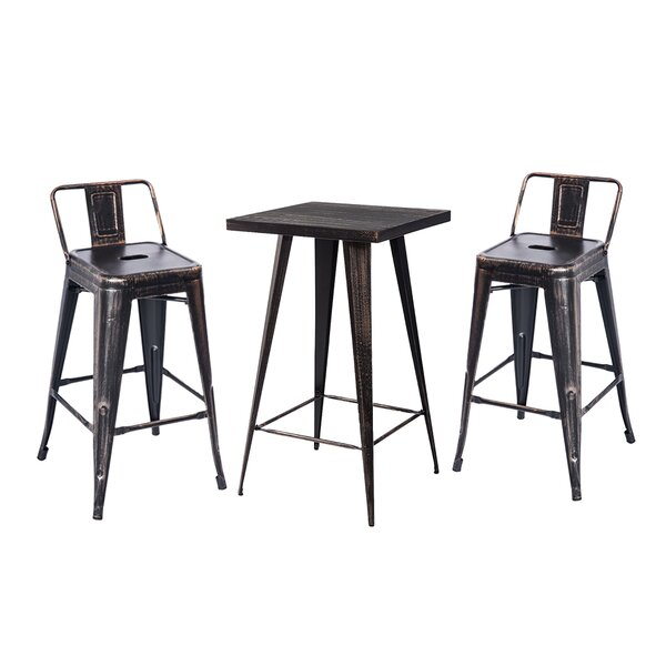 Distressed 3 Piece Bar Height Dining Set by Williston Forge