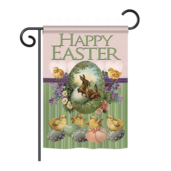 Bunny with Chicks 2-Sided Vertical Flag by Breeze Decor