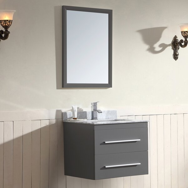 Gloria Series 25 Single Wall Mount Bathroom Vanity Set with Mirror by Dawn USA
