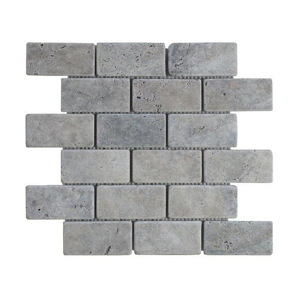Silver Travertine Brick 2 x 4 Marble MosaicTile in Gray by Seven Seas