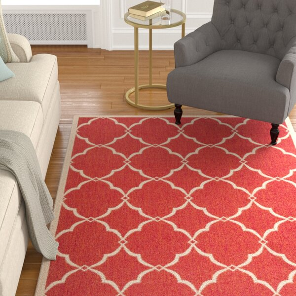 Huth Red/Cream Area Rug by Charlton Home