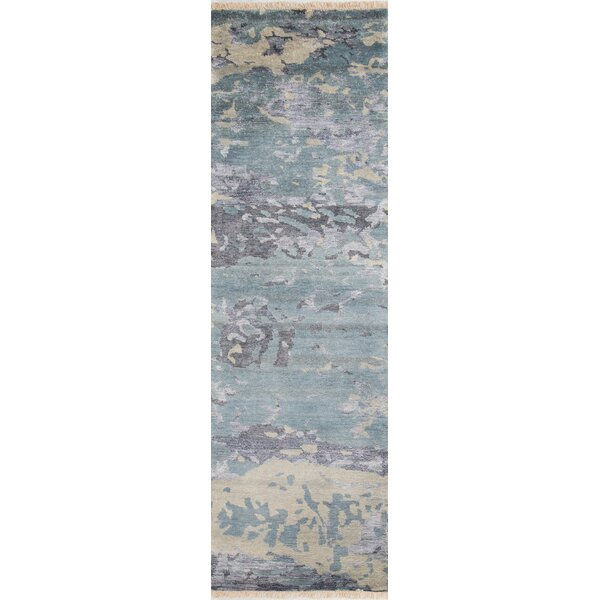 Moises Hand-Knotted Blue Area Rug by Williston Forge