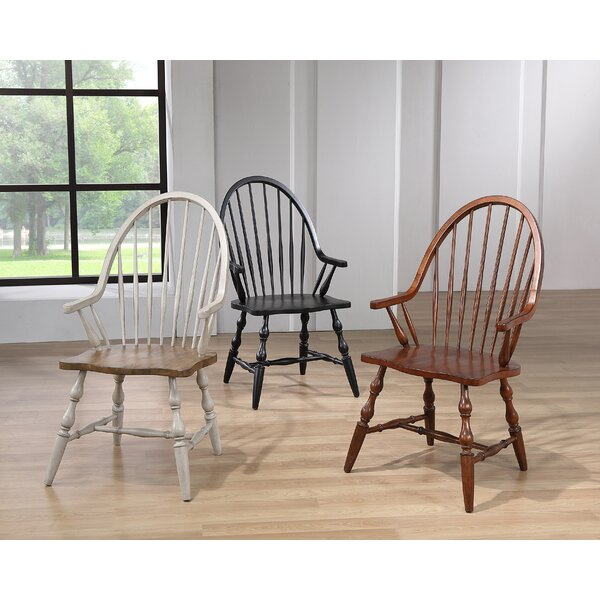 Country Grove Solid Wood Windsor Back Arm Chair In Light Gray By Sunset Trading