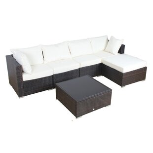 Patio 6 Piece Rattan Sectional Set with Cushions By Auro Furniture