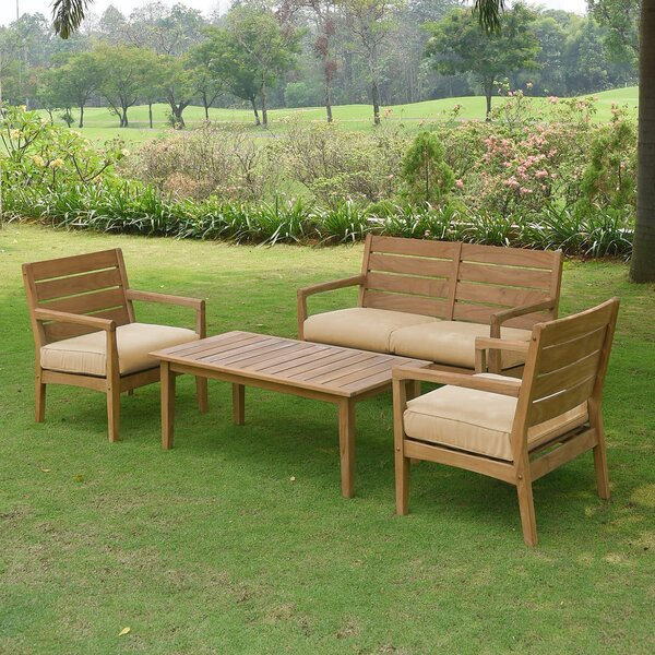Nina 4 Piece Teak Sofa Seating Group with Cushions by Rosecliff Heights