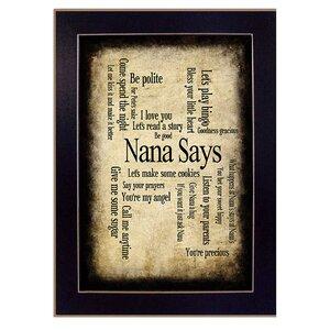 'Nana Says' Framed Textual Art by Trendy Decor 4U