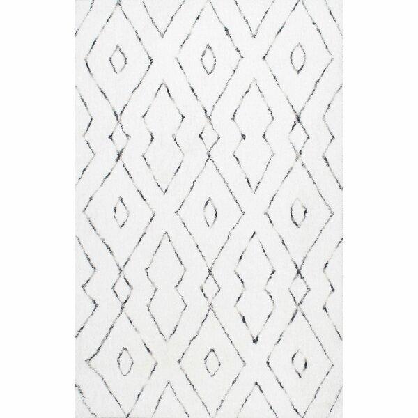 Peraza Hand-Tufted White Area Rug by Mercury Row