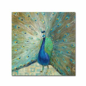 Blue Peacock on Gold by Danhui Nai Painting Print on Wrapped Canvas by Trademark Fine Art