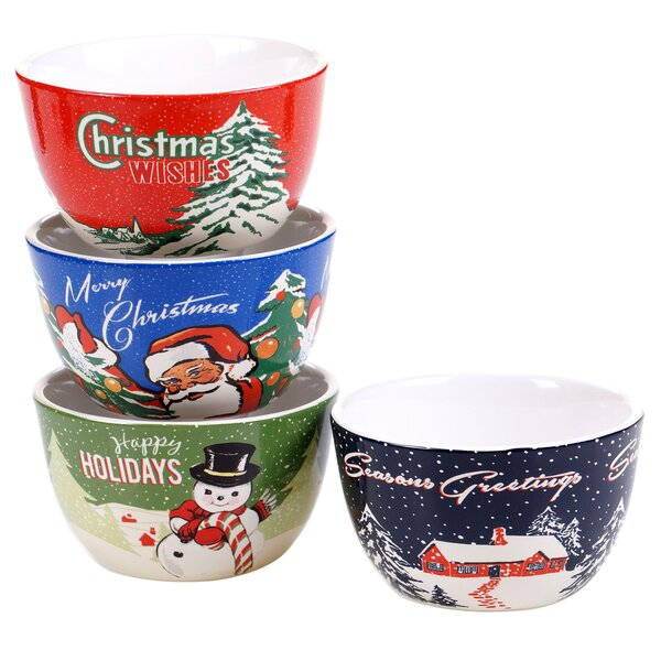 Retro Christmas 4 Piece Ice Cream Bowl Set by The Holiday Aisle