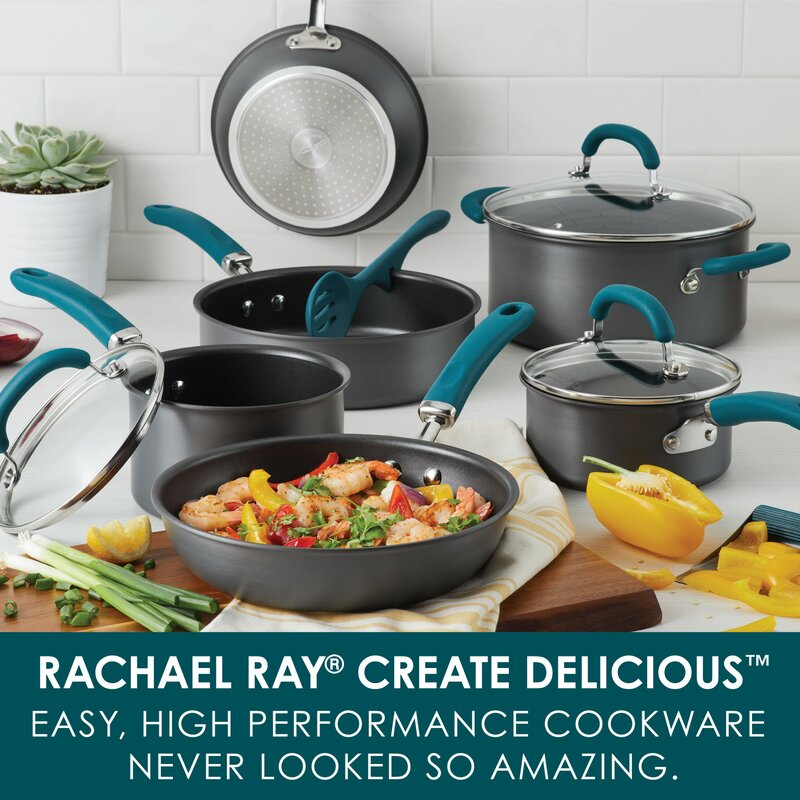 Ayesha Home Collection Hard Anodized Aluminum Cookware Set 9-Piece Ayesha Curry Kitchenware 80085