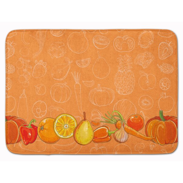Fruits and Vegetables in Rectangle Microfiber Non-Slip Bath Rug