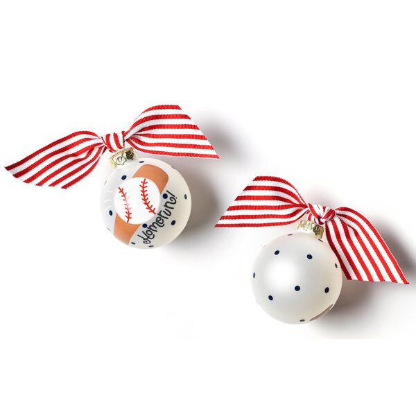 Baseball and Bat Glass Ball Ornament by Coton Colors