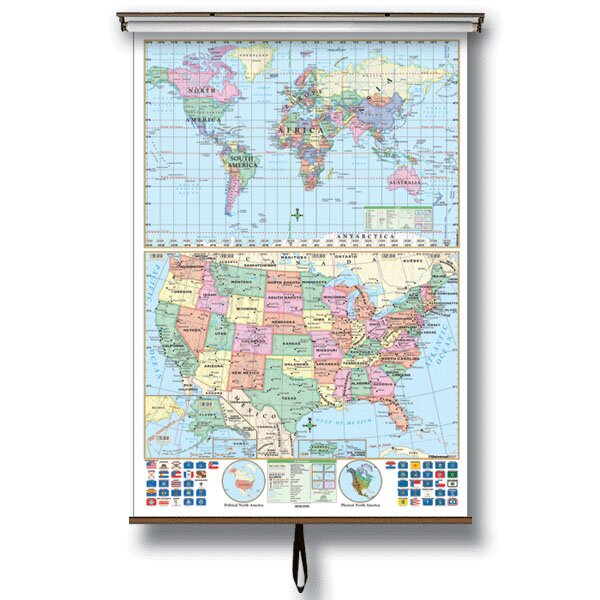 U.S. and World Stacked Wall Map on Roller with Backboard by Universal Map