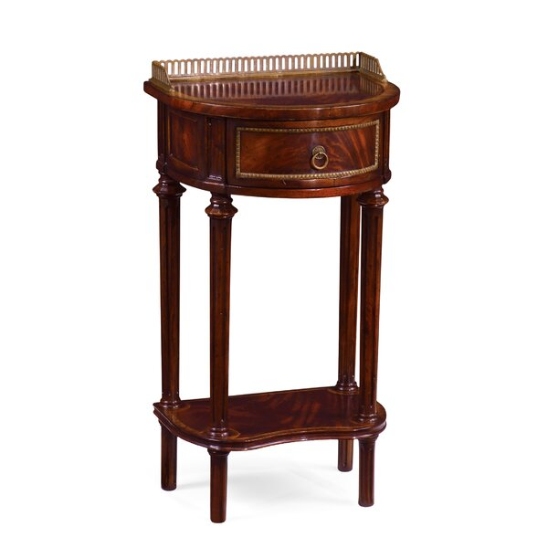 Buckingham Solid Wood Tray Top End Table with Storage
