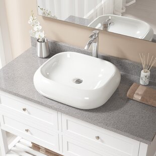Compare Pillow Top Vitreous China Rectangular Vessel Bathroom Sink with Faucet ByMR Direct
