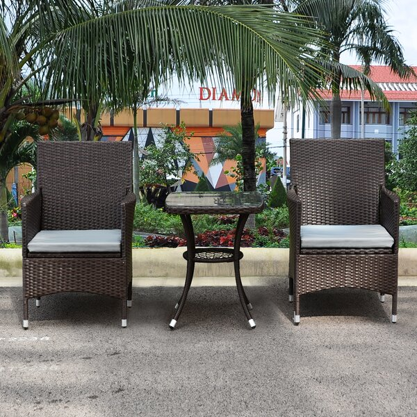 Caple Patio Furniture 3 Piece Seating Group with Cushions by Breakwater Bay