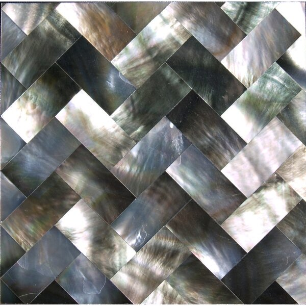 2 x 2 Authentic SeaShell Tile Seamless Herringbone Mosaic Insert in Gray/Black Mother of Pearl (Set of 36) by SeaTile