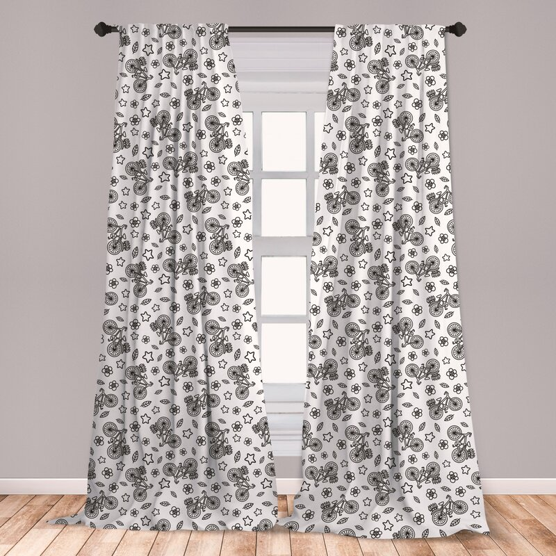 Window Curtains & Drapes Flowers Print Microfiber Curtains 2 Panel ...