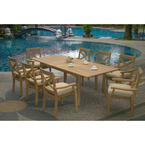 Nathanial Luxurious 9 Piece Teak Dining Set by Rosecliff Heights