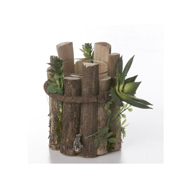 Succulent Wood Votive Holder by Millwood Pines