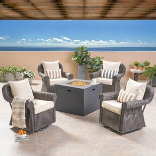Vanhorn Outdoor 5 Piece Firepit Set with Cushions By Bayou Breeze