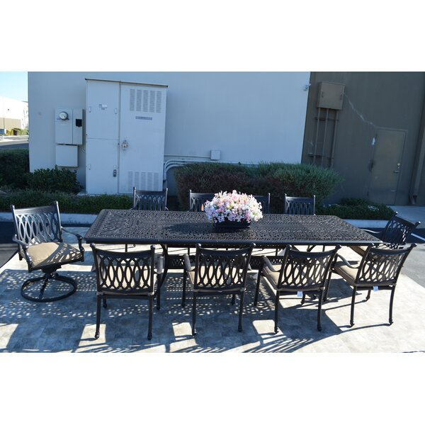 Baragrey 11 Piece Dining Set with Cushions by Fleur De Lis Living