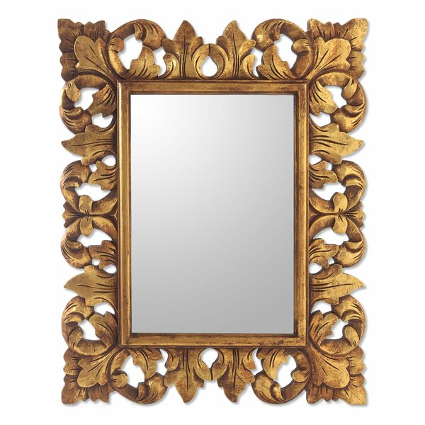 Lotus Wood Wall Mirror by Novica