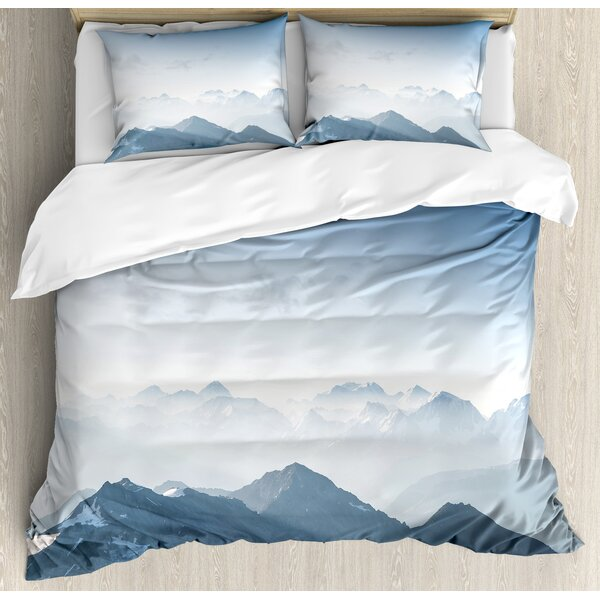 Farmhouse Fog Morning in Rock Mountain Region in Northern Hiking Climbing Ice Photo Duvet Set by Ambesonne