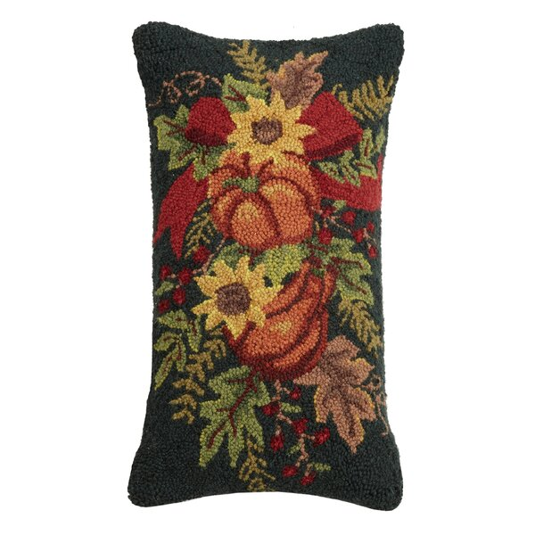 Mcfee Fall Pumpkin Wreath Wool Throw Pillow by The Holiday Aisle