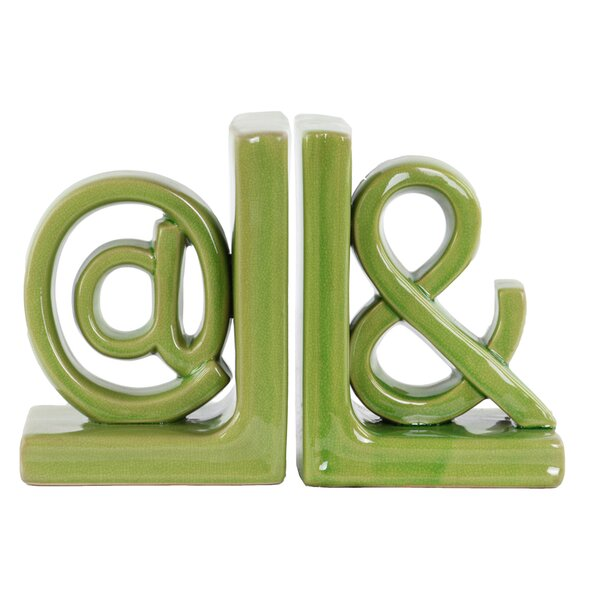 2 Piece Ceramic Alphabet Sculpture @& Bookend Set by Urban Trends