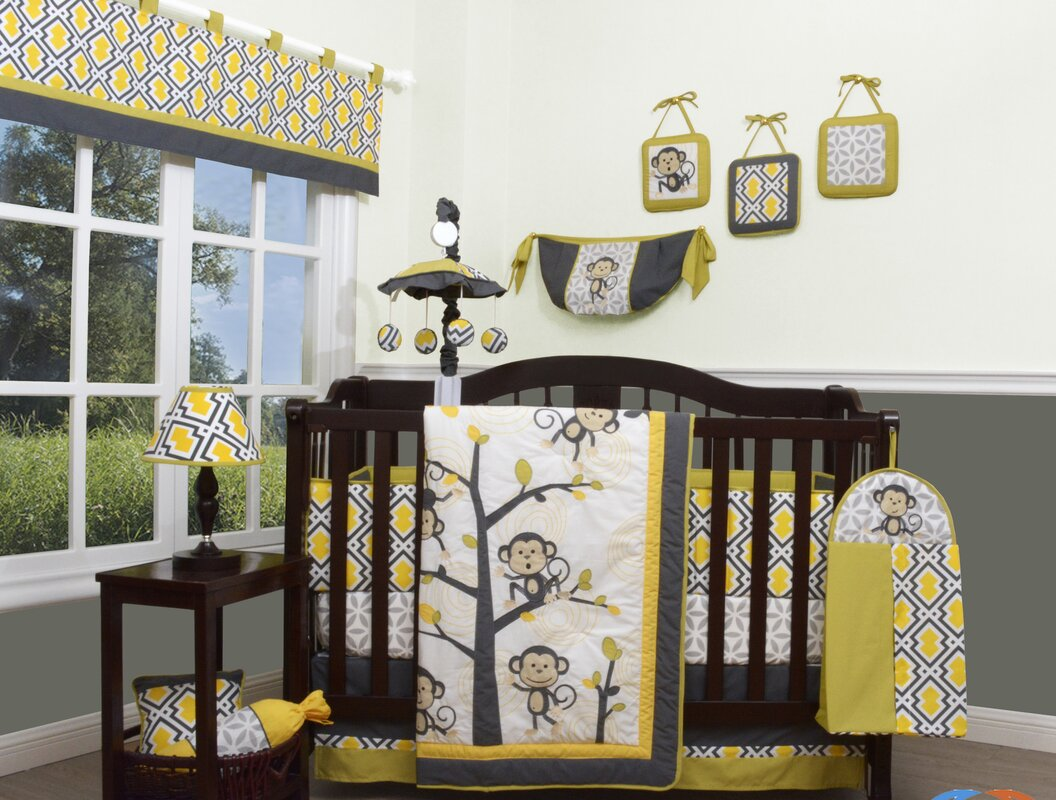 Go Happy Monkey 13 Piece Crib Bedding Set