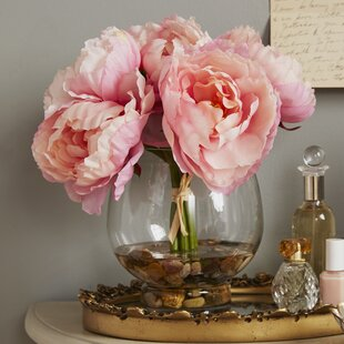 Peony flower arrangements youll love wayfair peonies in a glass vase with river rocks and faux water mightylinksfo