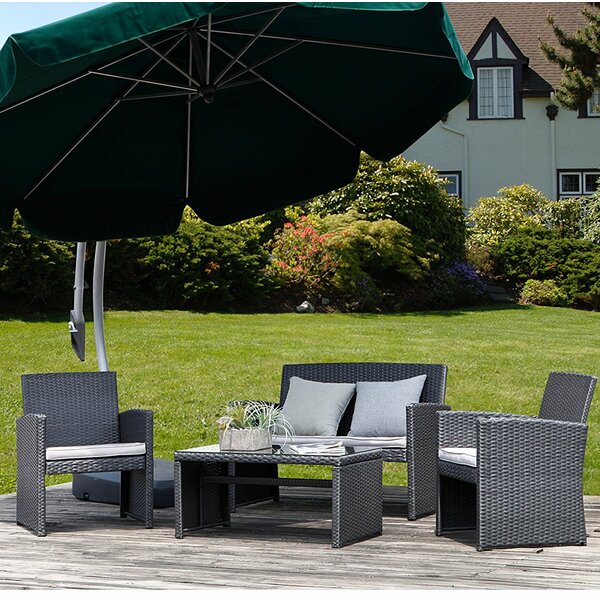 Wyckoff 4 Piece Rattan Conversation Set by Orren Ellis