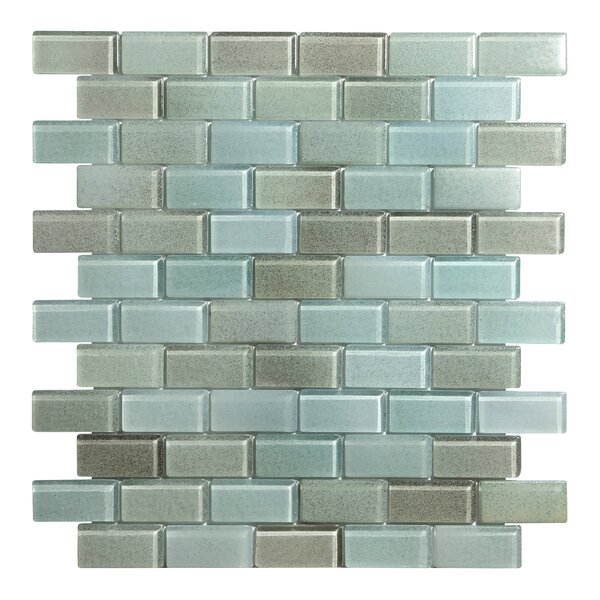 Hi-Fi Offset Brick 1 x 2 Glass Mosaic Tile in Brown/Beige/Green by Kellani