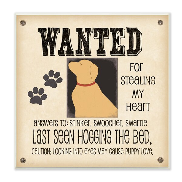 Wanted for Stealing My Heart Bulletin Textual Art Wall Plaque by Stupell Industries