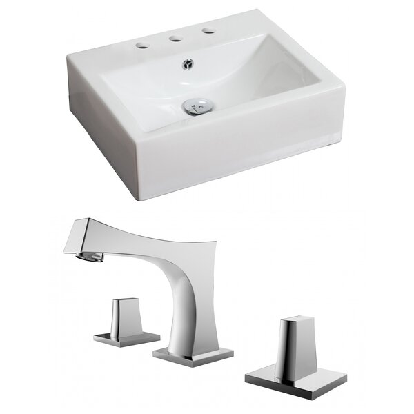 Ceramic 21 Wall Mount Bathroom Sink with Faucet and Overflow by Royal Purple Bath Kitchen