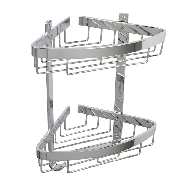 Ellingson Aluminum Large 2-Tier Corner Basket by Rebrilliant