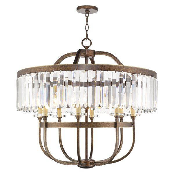 Caroline 8 - Light Unique / Statement Geometric Chandelier with Crystal Accents by House of Hampton House of Hampton