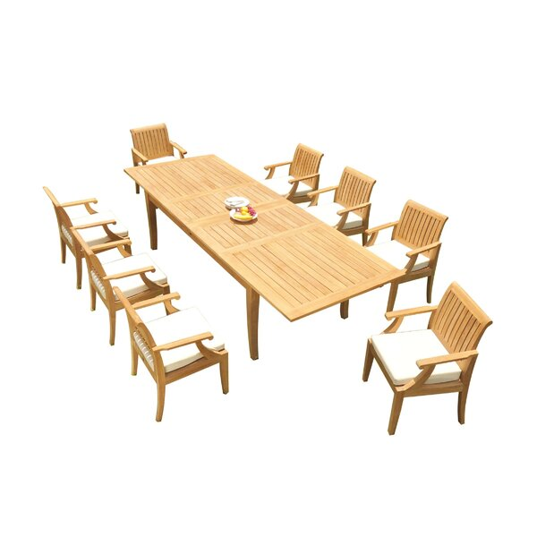 Domenic 9 Piece Teak Dining Set by Rosecliff Heights