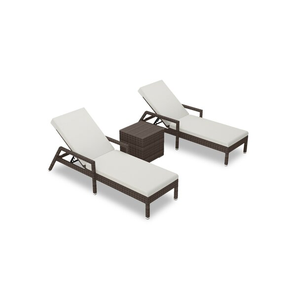 Glen Ellyn Reclining Chaise Lounge with Cushions and Table by Everly Quinn Everly Quinn