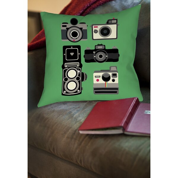Cameras Printed Throw Pillow by Manual Woodworkers & Weavers