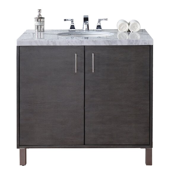 Cordie 36 Single Silver Oak Marble Top Bathroom Vanity Set by Orren Ellis