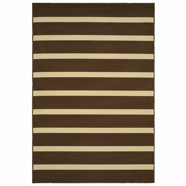 Galligan Stripe Brown/Ivory Indoor/Outdoor Area Rug by Red Barrel Studio
