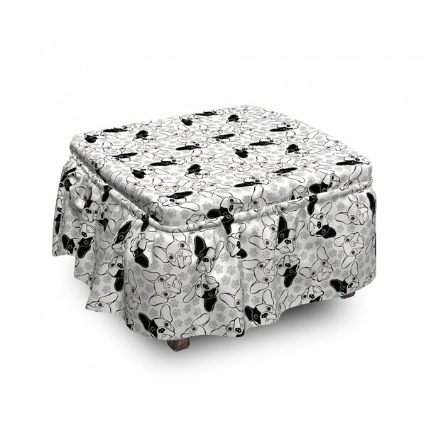Doodle Faces Pawprints Ottoman Slipcover (Set Of 2) By East Urban Home