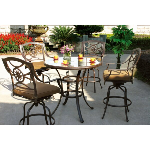 Thompsontown 5 Piece Bar Height Dining Set with Cu