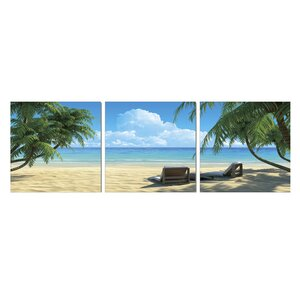 'Coconut Tree and Chair' 3 Piece Photographic Print Set by Highland Dunes