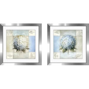 'Blue Hydrangea' 2 Piece Framed Graphic Art Print Set by August Grove