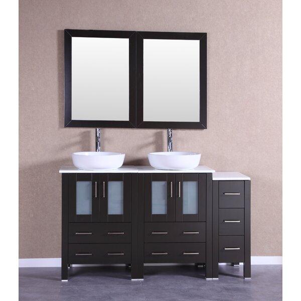 Bolzana 60 Double Bathroom Vanity Set with Mirror by Bosconi